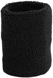 Comfortable Sweat Absorption Sport Gym Wristband Cotton Unisex Tennis Basketball High Elastic Bracer Wrist Wrap - Black