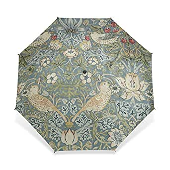 baihuishop防風ゴルフ傘、コンパクトで旅行for Easy Carryingスポーツ雨傘–強力なフレームUnbreakable William Morris印刷パターン