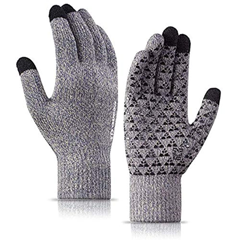 セクタ力過敏な男性と女性のための冬の手袋 - ニットタッチスクリーンアンチスリップシリコーンゲル - 弾性カフ?? - サーマルソフトウールライニング - 伸縮性のある素材,XL