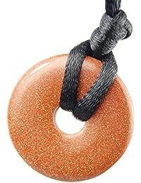 ゴールデンサンストーンドーナツラウンド:成功& Ambitionチャームペンダント、クリスタルジェムストーンCollectibles 0.98インチ25 mm – ブラック調節可能なネックレス20 – 24