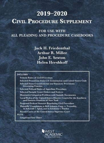 Download Civil Procedure Supplement, for Use with All Pleading and Procedure Casebooks, 2019-2020 (American Casebook Series) 1684671442