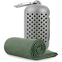 SKYLINKクールタオル 速乾タオル 超吸水 軽量 スポーツタオル 熱中症対策 シリコン収納ケース付き 90×30cm (グレー)