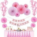 MOFFY 【 赤ちゃんにっこり 】 誕生日 飾り付け セット HAPPYBIRTHDAY ガーランド ハーフバースデー 1歳 2歳 お誕生日 (ピンク)