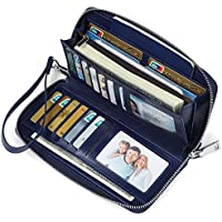 JEEBURYEE Women's RFID Blocking Large Capacity Luxury Oil Wax Genuine Leather Zip Around Wallet Clutch Multi Card Holder Ladies Purse Blue
