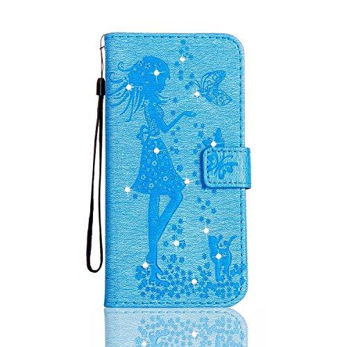 Galaxy S4 ケース 手帳型 CUSKING おしゃれ きらきら ダイヤモンド 無地 フリップ 保護ケース Samsung Galaxy S4 用 滑り防止 耐衝撃 高品質 PUレザー 財布型 カバー - スカイブルー