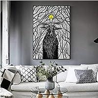 北欧スタイルの黒と白の動物鹿アンテロープキャンバス印刷壁アート写真絵画壁装飾抽象