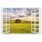 窓からの爽快な眺め 大草原 ウィンドウ ビュー ウォールステッカー 壁紙シール