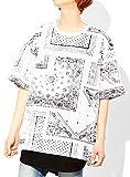 ビッグTシャツ メンズ タンクトップ ロング 総柄 ペイズリー バンダナ プリント 2枚 セット アンサンブル カットソー F ホワイト(1)