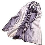 (モモチ) momoti 上質 シルク 大判 ストール ショール ボレロ スカーフ マフラー (シルバー)