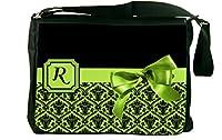 Rikki Knight Letter R Lime Green Monogram Damask Bow Design Messenger School Bag (mbcp-cond41958) [並行輸入品]