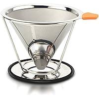 Pour OverコーヒーフィルタステンレススチールCoffee Dripperペーパーレス再利用可能な円錐コーヒーメーカーwith個別スタンド