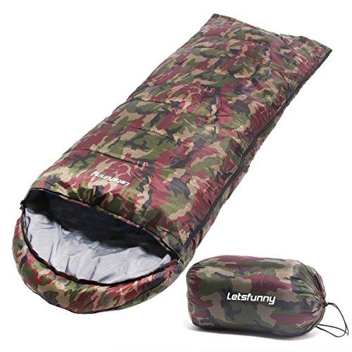 LetsFunny シュラフ 寝袋・スリーピングバッグ 丸洗い 掛け布団  封筒型 長さ176×幅70cm (広げた幅140cm) (迷彩)