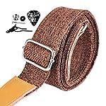 BestSounds ウクレレ耐久性のある調整可能な100%麻綿&本革ウクレレストラップ ショルダーストラップ (ダークブラウン)