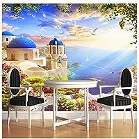 Wxmca ヨーロッパスタイルシービュー城おとぎ話世界壁画壁紙用キッズルームリビングルームの背景壁の家の装飾-250X175Cm