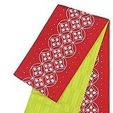 リバーシブル 半巾帯 小袋帯【有村架純/レッド 赤×黄緑 花菱七宝 15486】日本製