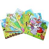 パズル 木製 動物パズル 積も木 キリン ウサギ ドラゴン カメ ゾウ カエル 6枚入り 誕生日 プレゼントにも適用