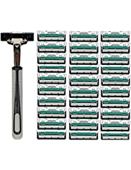 TerGOOSE 髭剃り 二重層 本体+替刃30コ付 安全 携帯便利