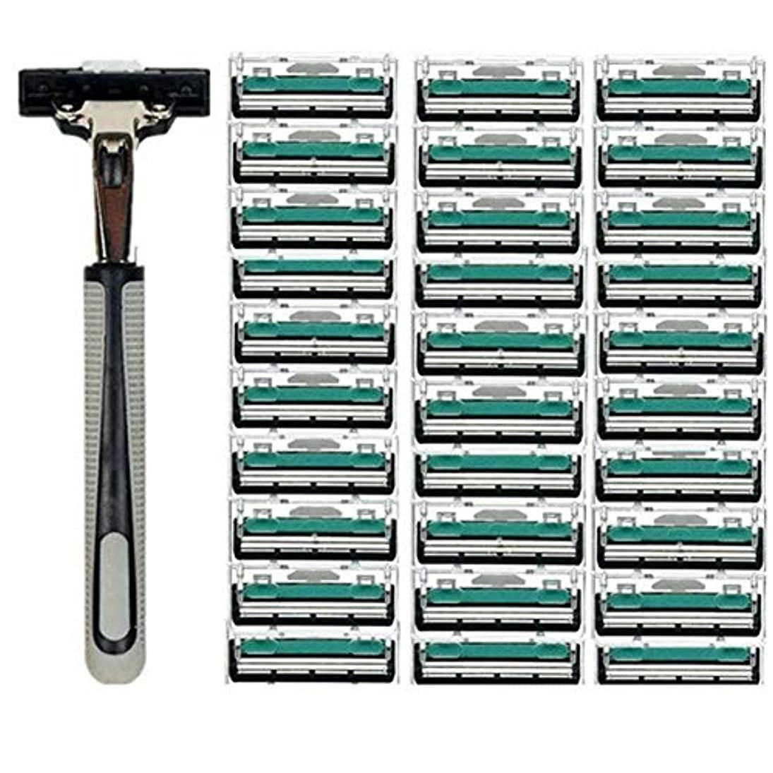 深い深さクリケットTerGOOSE 髭剃り 二重層 本体+替刃30コ付 安全 携帯便利