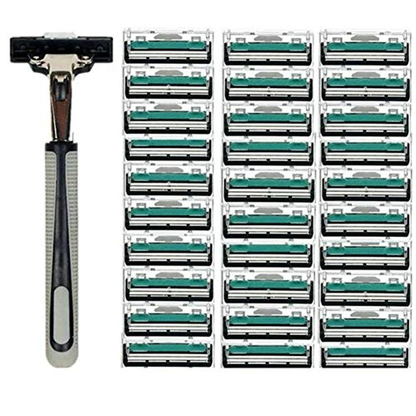 連合地雷原ハリケーンTerGOOSE 髭剃り 二重層 本体+替刃30コ付 安全 携帯便利