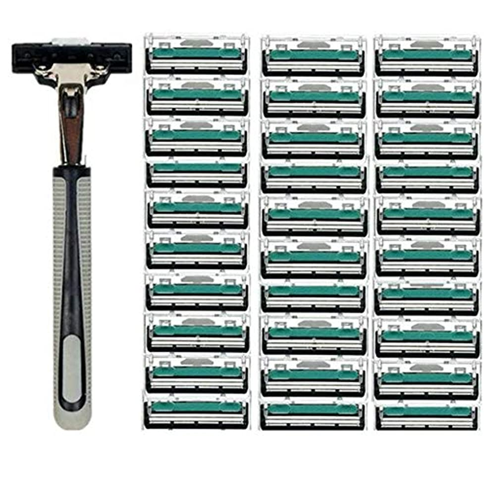 符号所有者治安判事TerGOOSE 髭剃り 二重層 本体+替刃30コ付 安全 携帯便利