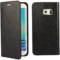 Samsung Galaxy S6 edge SC-04G ドコモ / SCV31 au/Softbank サムスン ギャラクシー S6 エッジ Galaxy S6 edge ケース 手帳型 SC-04G ケース 【iCoverCase】光沢加工 牛革 シンプル レトロ 携帯 カバー カードポケット スタンド機能 財布型 カバー【選べる4色】 ブラック