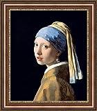 フェルメールGirl with a Pearl Earring Framedキャンバスジークレー印刷–Finishedサイズ(W) 27.4CM x (H) 31.4