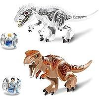 2個の恐竜のおもちゃセットティラノザウルス?レックスのおもちゃの白と茶色の両方