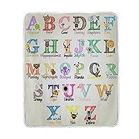 Colourlife Cartoon Animal Alphabet Soft Throw Cozy Warmフランネルフリース毛布子供用女性用ベッドソファーソファビーチ50x 60インチ
