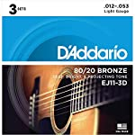 D'Addario EJ11-3D アコースティックギター弦 3-Pack Acoustic 80/20 Bronze 012-053 3セットパック ダダリオ