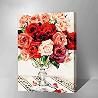 MADE4U [花と花瓶シリーズ3] [50x40センチ] [木製フレーム] 数字キットによる絵画 DIY キャンバス、ブラシ、ペイントを含む (薔薇の物語) HHGZG139