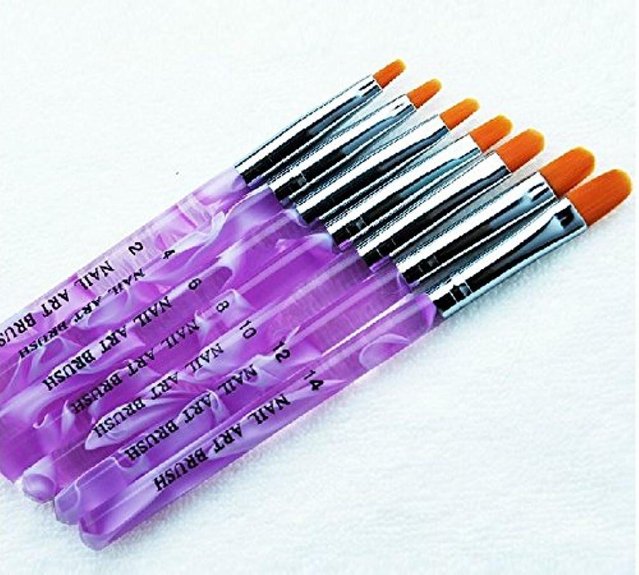 不快な編集する剛性POT ジェル ネイルブラシ 7本セット UV用 ジェルブラシ 平筆ブラシ 使い分けに ナンバー 印字 入り