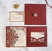 50pcsの正方形の花の三重レーザー切断結婚式招待状のカードビジネスの招待状グリーティングカード