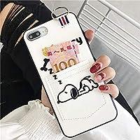 Snoopy スヌーピー iphoneケース ポケット付き レザー iPhoneケース スヌーピー 携帯ケース 携帯カバー TPU保護カバー 衝撃吸収 (iphone6plus/6s plus-ホワイト)
