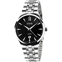 CIVO Mens Watches Waterproof Stainless Steel Watch Men Date Calendar Luxury Design Wrist Watches Casual Business Dress Fashion Classic Analogue Quartz Watches for Men Black