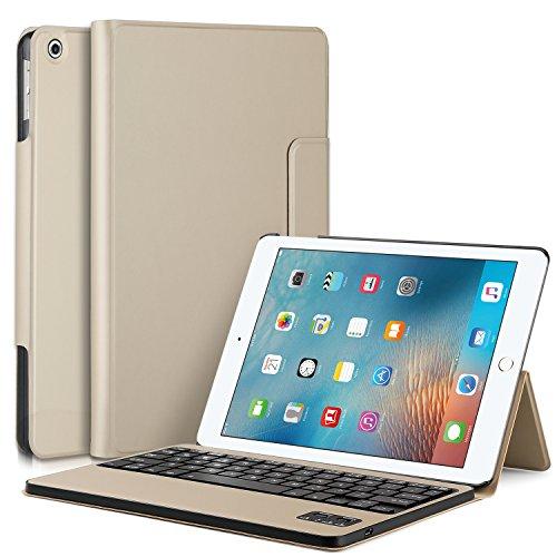 IVSO iPad Pro 10.5インチ ケース,APPLE iPad Pro 10.5インチ キーボードカバー 開閉で自動的 PUレザーケース マグネット着脱可能iPad Pro 10.5インチ 専用 一体型Bluetoothワイヤレスキーボード ゴールド