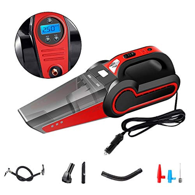 膨らませてクリーナー、ハンド 掃除機120W大口電力乾湿水洗い静音操作充電式LEDライト付きタイヤ空気圧,Red,digitaldisplay