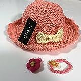 COKO4色 超可愛い麦わら帽子 リボン飾り女の子用 日よけ/日除け/紫外線対策 UVカット 柔らかく折り畳めます (ピンク&アイボリーリボン)