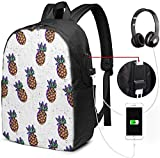 バナナラマパイナップルパープル ユニセックス、男性女性 17インチラップトップコンピューターバックパックトラベルデイパック(USB充電ポート付き)カレッジスクールバックパックビジネスラージスクールバッグ