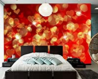 Yosot バレンタインデーのハートの壁紙に設定するには、リビングルームのテレビのソファーウォールベッドルームレストランキッチンバー-300cmx210cm
