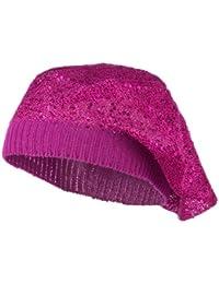 スパンコールナイロン伸縮性ベレー帽 – マゼンタ