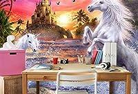 Minyose 3D壁紙赤空城ストリーム滝虹白い馬子供部屋の背景壁の壁画3D壁紙-140cmx100cm