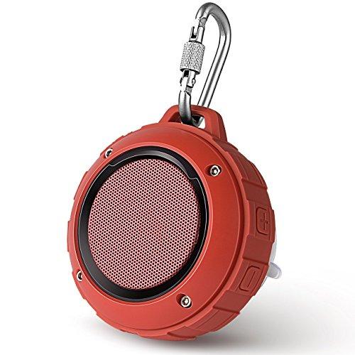 bluetooth スピーカー Lenrue F4 ミニワイヤレススピーカー IP45 防水防塵認証 マイク内蔵 高音質 アウトドアスピーカー TF カード対応/iPhone / iPad/Android /タブレットなどに対応 (赤)
