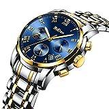 腕時計メンズ腕時計ラグジュアリークラシックゴールドブルーステンレス腕時計ビジネスカジュアルウォッチメンズ防水マルチ機能クォーツ 腕時計メンズ