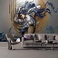 Bzbhart テレビの背景装飾画、壁用ステッカー壁紙紙クロス布ヨーロッパ3dエンボス動的美容壁紙用3dリビングルームテレビ防水壁大型壁画-250cmx175cm