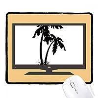 椰子の木のシルエットのブラック・ビーチ マウスパッド・ノンスリップゴムパッドのゲーム事務所