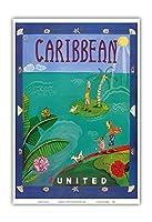 カリブ海 - ユナイテッド航空 - ビンテージな航空会社のポスター によって作成された メリザンド・ポッター c.2004 - アートポスター - 33cm x 48cm