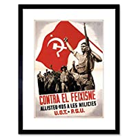War Spanish Civil Hammer Communist Anti Fascist Framed Wall Art Print