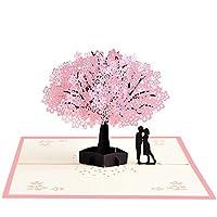ガールフレンドのための誕生日カードポップアップ記念日カード夫妻ボーイフレンド - カップルと桜の木