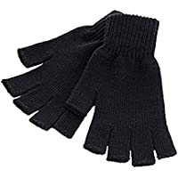 Unisex Men and Women Black Knit Gloves Fingerless and Regular