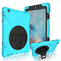 iPad 2/3/4 Back Case, DIGIC Hybrid PC Silicone Armor Defender Cover with Hand Strap 360 Degree Rotation Stander Full Protective Tablet Shell for Apple iPad 2/3/4, light blue